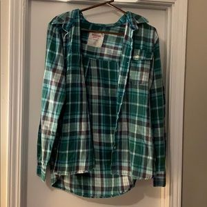 Green and Blue Plaid Button Down Shirt Flannel